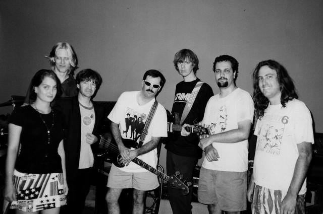 Rodney & The Tube Tops recording session 1996 (Abby Travis, Eric Erlandson, Rodney Bingenhiemer, Bill Bartell, Thurston Moore, David Markey, Dave Travis)