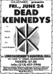 Dead Kennedys, DOA, Sin 34, D.I., & Youth Brigade (Minutemen played too)-  June 23 1983
