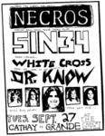 Sin 34, Necros, White Kross, & Dr. Know - September 27. 1983