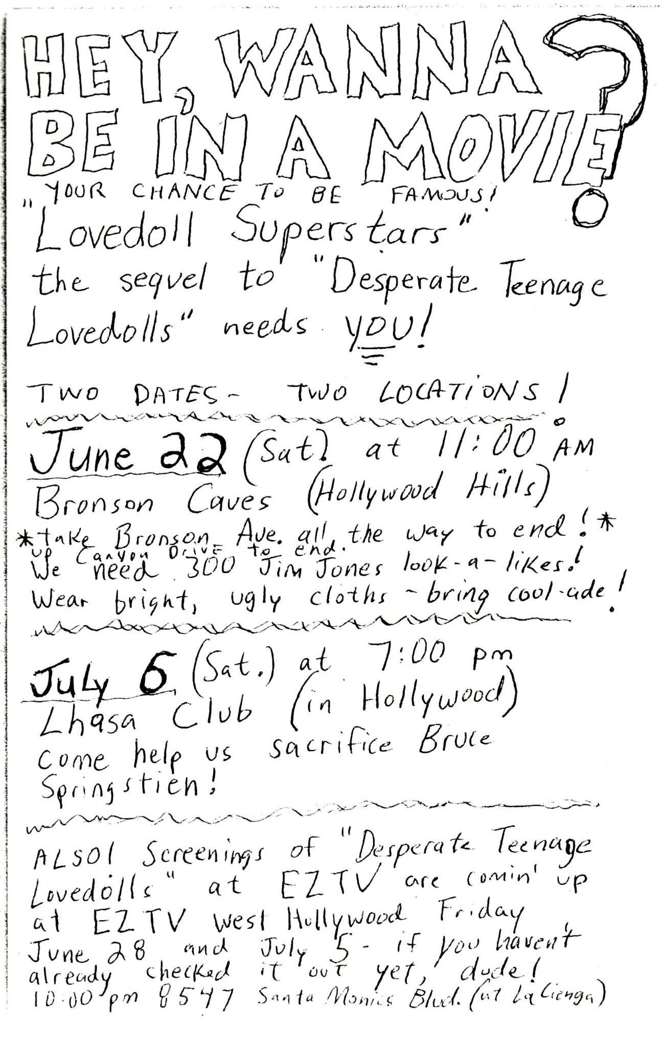 1985 extras casting call flier for Lovedolls Superstar