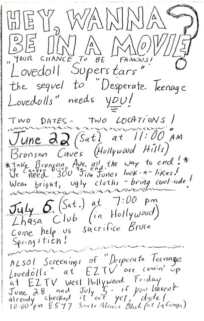 1985 extras casting call flier for Lovedolls Superstar
