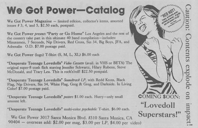 We Got Power ad from Maximum Rock 'n' Roll 1984